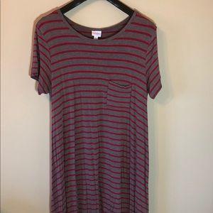 LuLaRoe Carly dress Red, Gray Striped Large